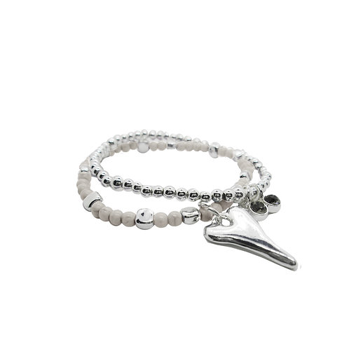 Bracelet Caracol, beige et coeur argent #3167-BGE