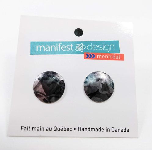 Boucles d'oreille Manifest Design: Fixe ronde, noir et gris