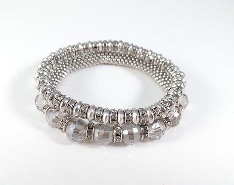 Ensemble de 2 bracelets élastiques Caracol, bille métal et verre facetté, argent