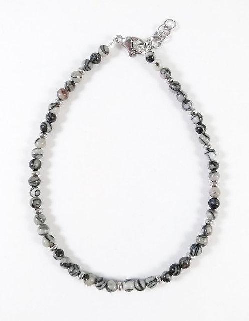 Bracelet de cheville, Pierre: Black silk stone, Acier inoxydab