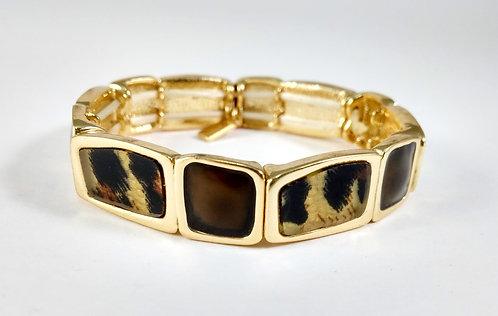 Bracelet Spoutnik élastique, Léopard, brun et or