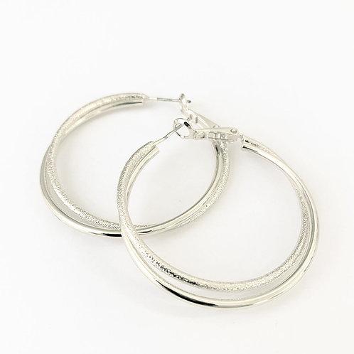 Boucles d'oreille Caracol, Anneaux double de métal, Argent lustré, 2339-SLV