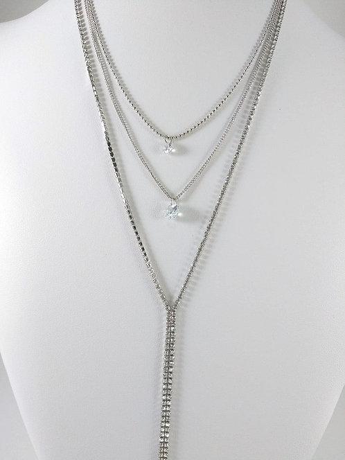 Collier long Spoutnik, 3 rangs, pierres du rhin, argent