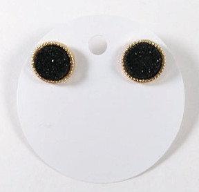 Boucles d'oreille Spounik: Cercle or, effet pierre noir brillant
