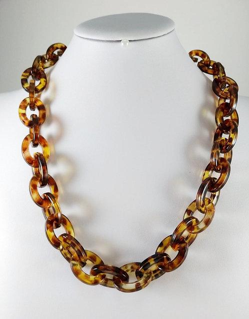 Collier Spoutnik, Large maille, résine motif léopard