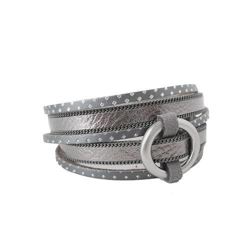 Bracelet Caracol, Cuir véritable, double tour, Gris, 3092-GRY