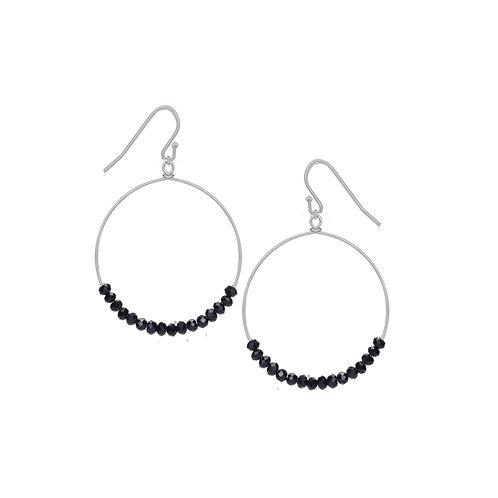 Boucles d'oreille Caracol, Anneau avec billes noires, Argent, 2293-BLK-S