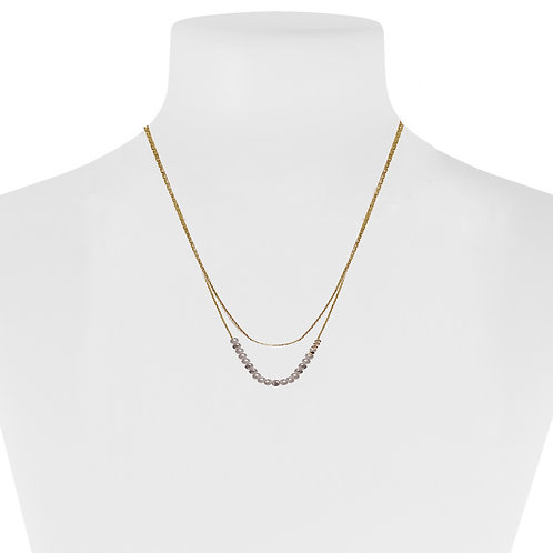 Collier Caracol, billes grises, Or, 1422-GRY