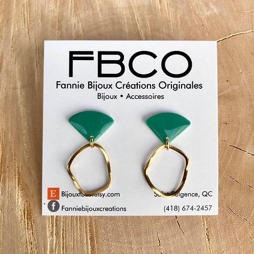 Boucles d'oreille FBCO ''Merrie'' Vert émeraude
