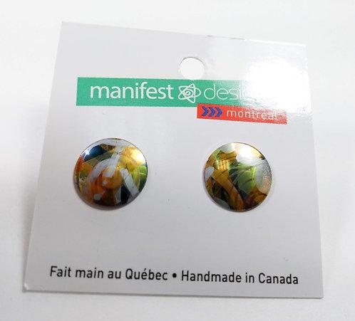 Boucles d'oreille Manifest Design: Fixe ronde, jaune doré