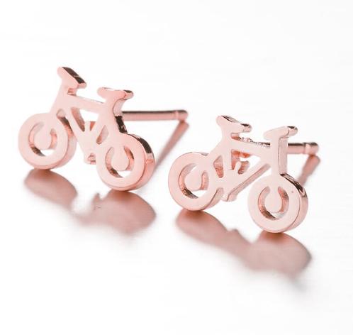 Boucles d'oreille acier inoxydable ''Vélo or rose''