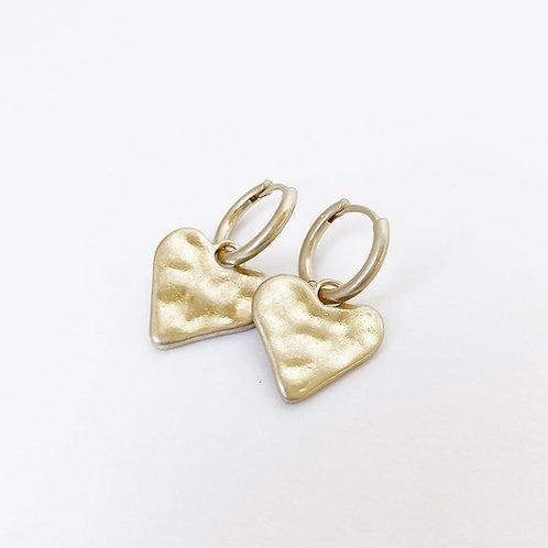 Boucles d'oreille transformable Caracol, Coeur sur anneaux, Or mat, 2447-GLD