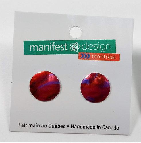 Boucles d'oreille Manifest Design: Fixe ronde, rose, rouge et mauve