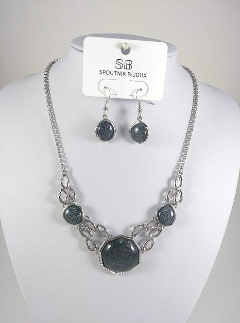 Ensemble collier et boucles d'oreille Spoutnik, 3 pièces gris, argent