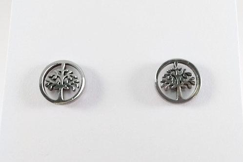 Boucles d'oreille acier inoxydable ''Petit arbre dans un cercle''