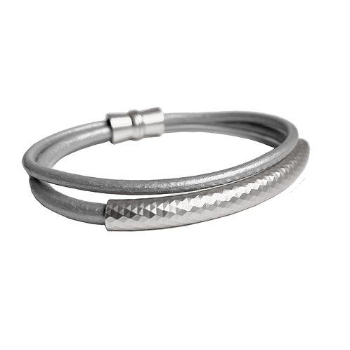 Bracelet élastique Caracol, Cuir, Gris et Argent, 3187-GRY-S