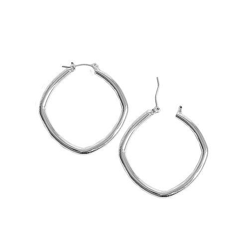 Boucles d'oreille Caracol, Anneau carré, Argent lustré, 2373-SLV-S