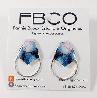 Boucles d'oreille FBCO ''Axies'' Ton de bleu, noir et lilas, Argent