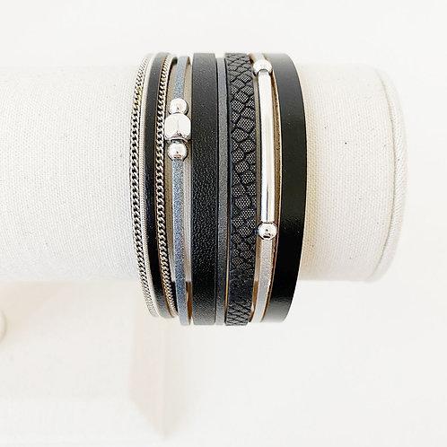 Bracelet Caracol, Cuir avec bille métal, Noir, 3137-BLK