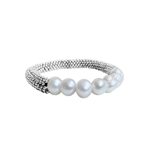 Bracelet élastique Caracol, Argent, Perles, 3176-SLV