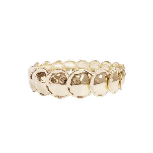 Bracelet élastique Caracol, Pastilles métalliques, Or, 3146-GLD