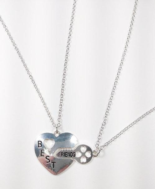 2 colliers pour enfants Best friend : Coeur avec clé