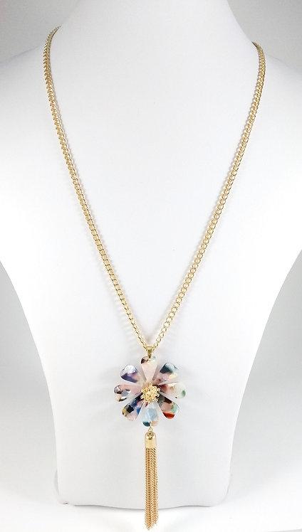 Collier long Spoutnik, Fleur résine colorée, chaîne or