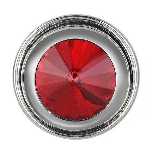 Bouton pression (snap) Nomaad Interchangeable, Cristal rouge contour argent