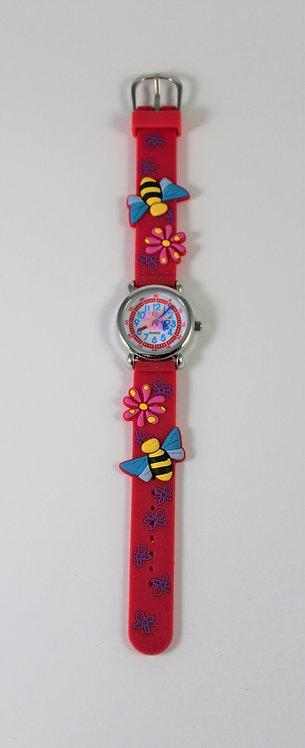 Montre pour enfant, abeille et fleur, rouge #7