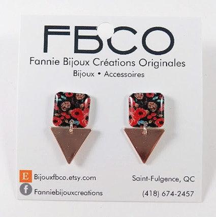 Boucles d'oreille FBCO ''Lustra'' Motif de fleur rouge, noir et bleu
