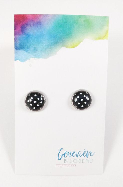 Boucles d'oreille GB Joaillière, 10mm, Pois noir et blanc, Acier inoxydable