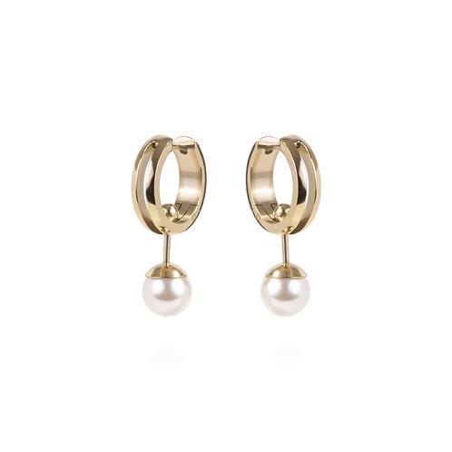 Boucles d'oreille Mia anneau et perle, 2 en 1,Or, Acier inoxydable