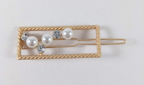 Barrette: Rectangle or, perles blanches et cristaux