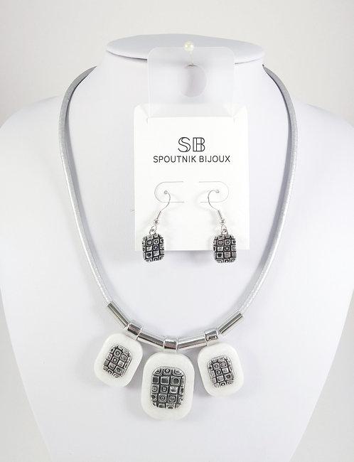 Ensemble collier et boucles d'oreille Spoutnik, 3 rectangles blancs