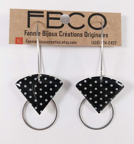 Boucles d'oreille FBCO ''Sidonie'' Noir pois blanc