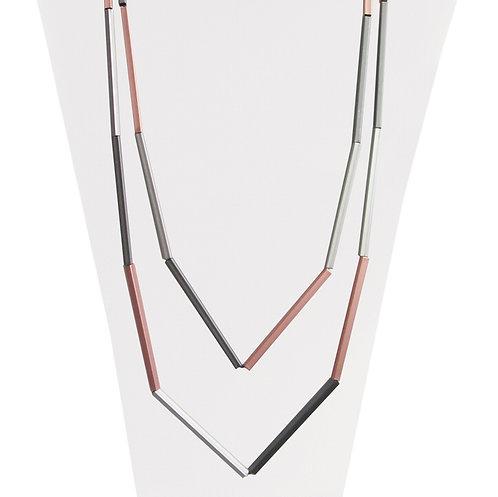 Collier long Caracol, Tubes métalliques, Argent et or rose, 1346-MXR