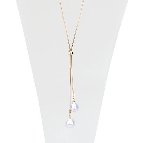 Collier long ajustable Caracol, Perle blanche, Or, 1172-GLD