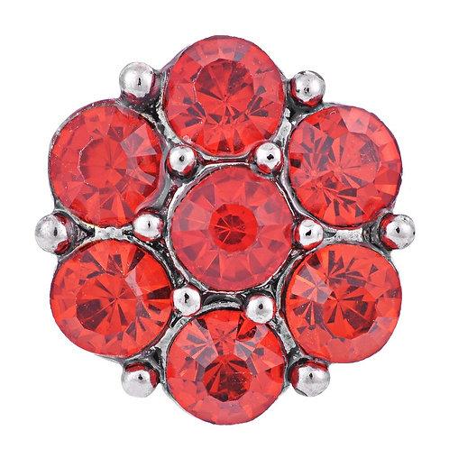 Bouton pression (snap) Nomaad Interchangeable, Cristaux rouges, fleur