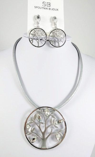 Ensemble collier et boucles d'oreille Spoutnik, Arbre argent avec cristaux