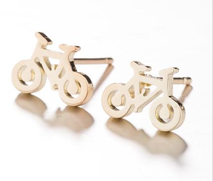 Boucles d'oreille acier inoxydable ''Vélo or jaune''