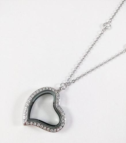 Collier famille GB, Coeur avec contour cristaux