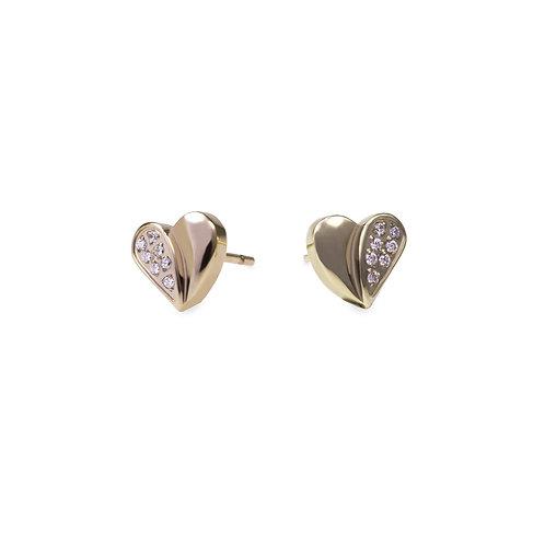 Boucles oreilles cœur moitié pierres, Acier inoxydable, Or
