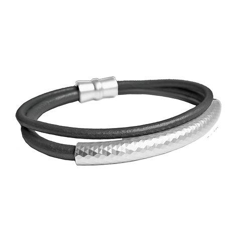 Bracelet élastique Caracol, Cuir, Noir et Argent, 3187-BLK-S