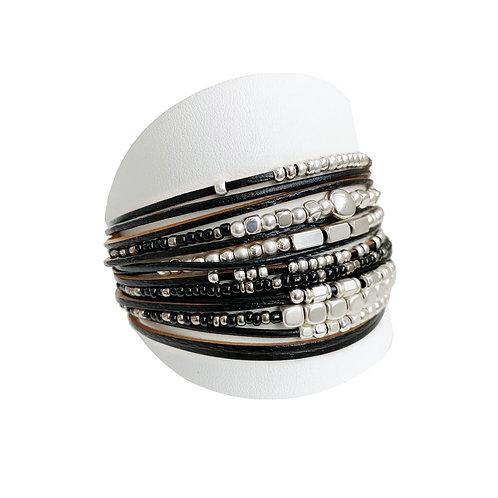 Bracelet Caracol, Cuir, Noir, 3161-BLK
