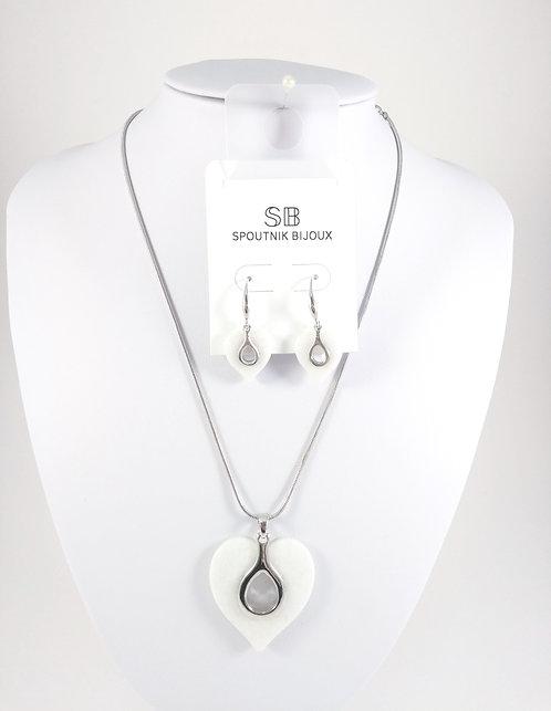 Ensemble collier et boucles d'oreille Spoutnik, Coeur blanc et argent