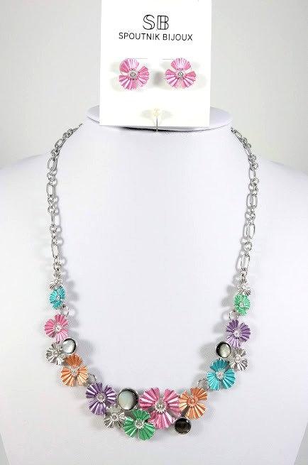 Ensemble collier et boucles d'oreille Spoutnik, Fleurs multicolores