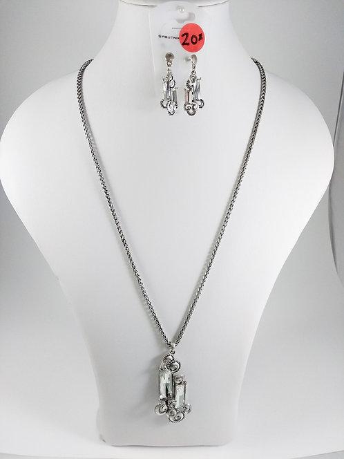 Ensemble collier long et boucles d'oreille Spoutnik, Argent et cristal