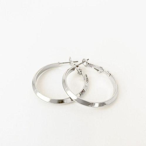 Boucles d'oreille Caracol, Anneau métallique sur tige, Argent lustré, 2291-SLV