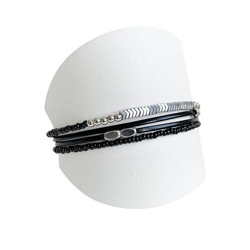 Bracelet Caracol, Cuir et billes, Noir, 3159-BLK