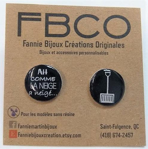 Boucles d'oreille FBCO ''Message: Ah comme la neige a neigé...''